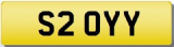YY INITIALS  Private CHERISHED Registration Number Plate  YY OYY SOY 520